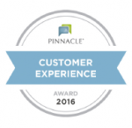 Recipient of 2016 Pinnacle Customer Service Award!
