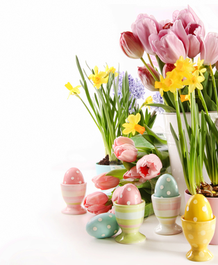 Happy Easter 2021 - eggs and flowers